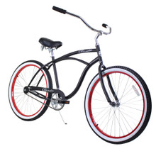ZF Bikes - Beach Cruiser Bike - Classic - Black / Red