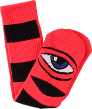 Toy Monster - Sect Eye Big Stripe Crew Socks-red 1pr