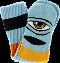 Toy Machine - Sect Eye Big Stripe Crew Socks-baby Blue 1pr - Skateboard Socks