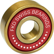 Fkd - Swiss Gold Bearing Set Gold/red W/wht - Skateboard Bearings