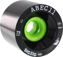 Abec 11 - Bigzig Hd 75mm 74a Black/lime - Skateboard Wheels (Set of Four)