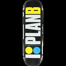 PLAN B - B Og Neon Deck-8.0 Blk/wht/yel/blu - Skateboard Deck