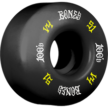 Bones Wheels - 100's Og #12 V4 51mm Black W/yel/wht Ppp - Skateboard Wheels (Set of Four)