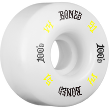 Bones Wheels - 100's Og #12 V4 51mm White W/yel/blk Ppp - Skateboard Wheels (Set of Four)