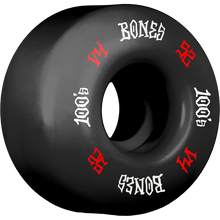 Bones Wheels - 100's Og #12 V4 52mm Black W/red/wht Ppp - Skateboard Wheels (Set of Four)