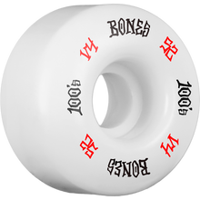 Bones Wheels - 100's Og #12 V4 52mm White W/red/blk Ppp - Skateboard Wheels (Set of Four)