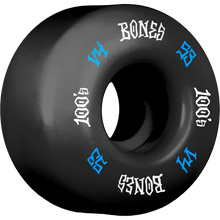 Bones Wheels - 100's Og #12 V4 53mm Black W/blu/wht Ppp - Skateboard Wheels (Set of Four)