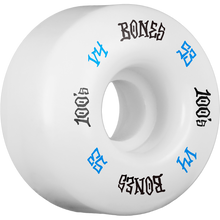 Bones Wheels - 100's Og #12 V4 53mm White W/blu/blk Ppp - Skateboard Wheels (Set of Four)