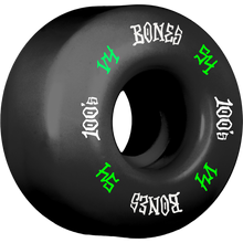 Bones Wheels - 100's Og #12 V4 54mm Black W/grn/wht Ppp - Skateboard Wheels (Set of Four)