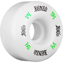Bones Wheels - 100's Og #12 V4 54mm White W/grn/blk Ppp - Skateboard Wheels (Set of Four)
