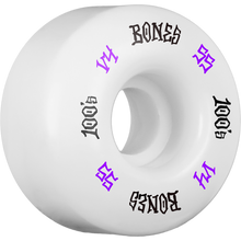 Bones Wheels - 100's Og #12 V4 55mm White W/pur/wht Ppp - Skateboard Wheels (Set of Four)