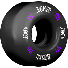 Bones Wheels - 100's Og #12 V4 55mm Black W/pur/wht Ppp - Skateboard Wheels (Set of Four)