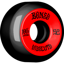 Bones Wheels - 100's V5 Og Sidecut#2 52mm Black W/red - Skateboard Wheels (Set of Four)