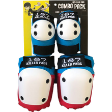 187 - Combo Pack Knee/elbow Pad Set Xs-red/wht/blu - Skateboard Pads