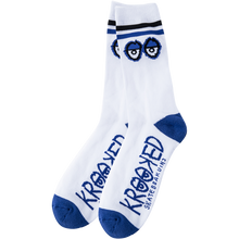 KROOKED - Big Eyes Crew Socks Wht/blue/blk 1 Pair - Skateboard Socks