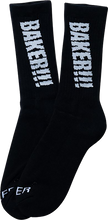 Baker - Screamer Crew Socks Blk/glow 1 Pr - Skateboard Socks