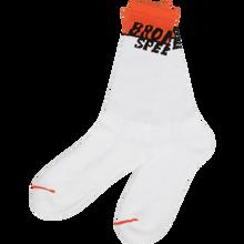 Bronson Speed Co - Starting Line Crew Socks White 1pr - Skateboard Socks