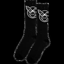 Pig - Head Tall Socks Black 1 Pair - Skateboard Socks