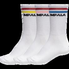 Impala Rollerskates - 3pk Socks Stripe Wht/asst - Skateboard Socks