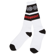 Independent - Woven Crosses Crew Socks White 1pr - Skateboard Socks