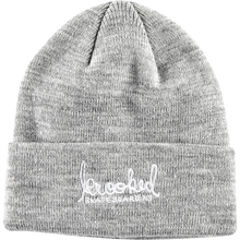 KROOKED - Signature Emblem Beanie Heather Grey/wht