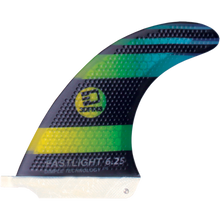 "3D Fins - Fastlight Single Fin 6.25"" Blk/grn Fade - Surfboard Fins"