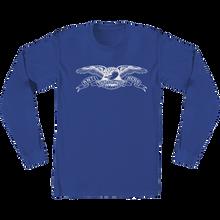 Anti Hero - Basic Eagle L/s L-royal/wht - T-Shirt