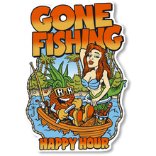 Happy Hour - Hour Gone Fishing Lg Decal Single