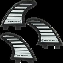 Shapers Australia - Australia S-3 Fcs Blk/wht Stripe 3fin Set - Surfboard Fins