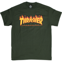 Thrasher - Flame Ss M-forest Green - T-Shirt