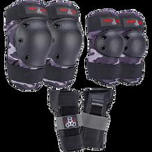 Triple Eight - 8 Saver 3/pk Pads Jr-charcoal Camo - Skateboard Pads
