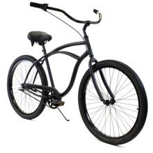 ZF Bikes - Classic Mens Beach Cruiser Bike - 3 speed - Black Matte
