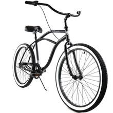 ZF Bikes - Classic Mens Beach Cruiser Bike - 3 speed - Black / White