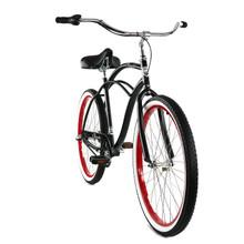 ZF Bikes - Classic Mens Beach Cruiser Bike - 3 speed - Black / Red