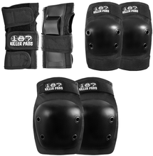 187 - 6 - Pack Junior Pad Set Black - Skateboard Pads