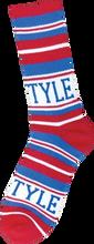 Bro Style - Style Home Team Crew Socks - Red / Blue 1 Pair