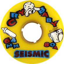 Seismic - Cry Baby 64mm 80a Yellow - (Set of Four) Skateboard Wheels