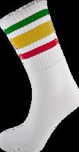 Socco - Crew Wht / Rasta Socks(6 - 9)1pair