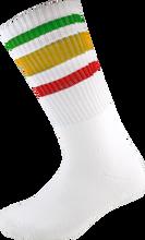 Socco - Crew Wht / Rasta Socks (9 - 12) 1pair