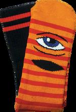Toy Machine - Sect Eye Stripe Crew Socks - Org / Red / Blk 1 Pair