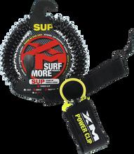 XM - Sup Power - Clip Coiled Reg Ankle Leash 10' Black