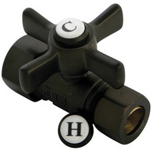 "Kingston Brass CC44455ZX 5/8"" Od Compression X 1/2"" Od Compression Straight Valve - Oil Rubbed Bronze"