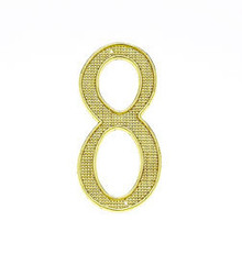 "JVJ 00837 4"" Polished Brass Finish Zinc Alloy House Number ""8"""
