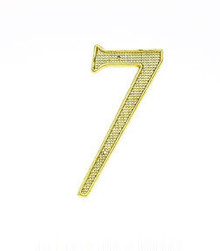 "JVJ 00737 4"" Polished Brass Finish Zinc Alloy House Number ""7"""