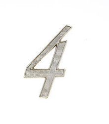 "JVJ 00439 4"" Satin Nickel Finish Zinc Alloy House Number ""4"""