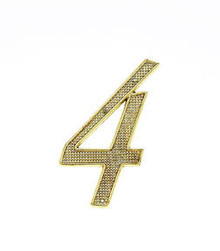"JVJ 00437 4"" Polished Brass Finish Zinc Alloy House Number ""4"""