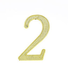 "JVJ 00237 4"" Polished Brass Finish Zinc Alloy House Number ""2"""
