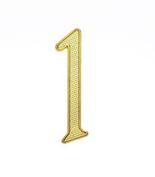 "JVJ 00137 4"" Polished Brass Finish Zinc Alloy House Number ""1"""