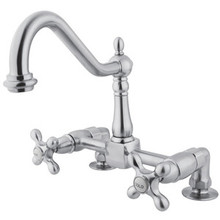 Kingston Brass Two Handle Widespread Bridge Deck Mount Kitchen Faucet - Polished Chrome KS1141AX