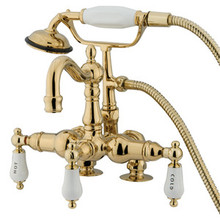 "Kingston Brass 3-3/8"" Deck Mount Clawfoot Tub Filler Faucet with Hand Shower - Polished Brass CC1017T2"